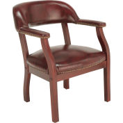 Boss Conference Chair with Arms - Vinyl - Burgundy