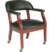Conference Arm Chair With Casters Vinyl Black