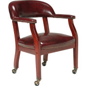 Boss Conference Chair with Arms and Casters - Vinyl - Burgundy