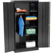 Tennsco Combination Metal Storage Cabinet 1472-BLK - 36x18x72 Black