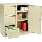 Storage 2-In-1 Cabinet 3 File Drawers and 2 adj. Shelves