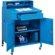 "Global Industrial™ Mobile Cabinet Shop Desk w/ Pigeonhole Riser, 34-1/2""W x 30""D, Blue"