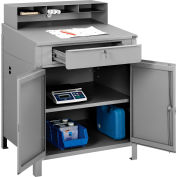 "Global Industrial™ Cabinet Shop Desk with Pigeonhole Riser 34-1/2""W x 30""D x 51-1/2""H - Gray"