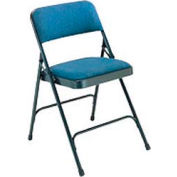"""National Public Seating Steel Folding Chair - 1-1/4"""" Fabric Seat - Double Brace - Blue - Pkg Qty 4"""