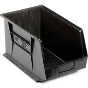 Quantum Plastic Stacking Bins - Parts Storage Bin QUS255 11 x 16 x 8 Black - Pkg Qty 4