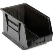 Quantum Plastic Stacking Bins - Parts Storage Bin QUS260 11 x 18 x 10 Black - Pkg Qty 4