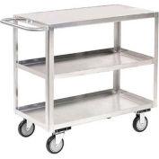 Jamco Stainless Steel Stock Cart XA124 3 Shelves Flush Top Shelf 24x18