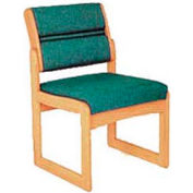 Single Chair Without Arms Light Oak Green Fabric