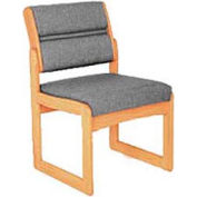 Single Chair Without Arms Light Oak Gray Fabric