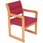 Single Chair With Arms Light Oak Burgundy Fabric
