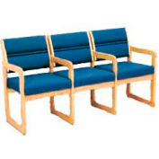 3 Seater Reception Sofa With 4 Armrests Light Oak Blue Fabric