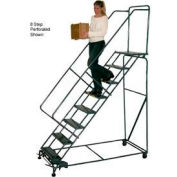 """7 Step 24""""W Steel Safety Angle Rolling Ladder W/ Handrails - Perforated Tread"""