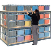"""Global Industrial™ Record Storage Rack 96""""W x 24""""D x 60""""H With Polyethylene File Boxes - Gray"""