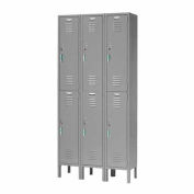 Capital® Locker Double Tier 12x18x36 6 Door Ready To Assemble Gray