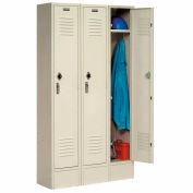 Paramount® Locker Single Tier 15x18x72 3 Door Ready To Assemble Tan