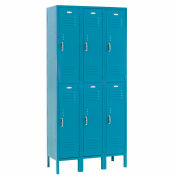 Paramount® Locker Double Tier 12x12x36 6 Door Ready To Assemble Blue