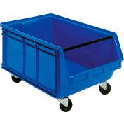 Quantum Mobile Magnum Plastic Stackable Storage Bin QUS275MOB 16-1/2 x 18 x 11 Blue - Pkg Qty 3