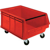 Quantum Mobile Magnum Plastic Stackable Storage Bin QUS275MOB 16-1/2 x 18 x 11 Red - Pkg Qty 3