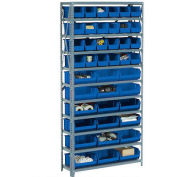 Global Industrial™ Steel Open Shelving with 60 Blue Plastic Stacking Bins 11 Shelves - 36x12x73