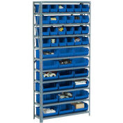 Steel Open Shelving with 18 Blue Plastic Stacking Bins 10 Shelves - 36x18x73
