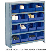 Steel Closed Shelving with 28 Blue Plastic Stacking Bins 10 Shelves - 36x18x73
