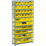 Steel Open Shelving with 36 Yellow Plastic Stacking Bins 10 Shelves - 36x12x73