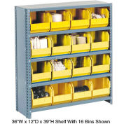 Steel Closed Shelving with 60 Yellow Plastic Stacking Bins 11 Shelves - 36x12x73