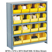 Steel Closed Shelving with 18 Yellow Plastic Stacking Bins 10 Shelves - 36x18x73
