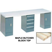 Global Industrial™ 144x30 Production Workbench, Maple Square Edge Top, 2 Cabinet, 4 Drawer GY
