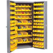 """Bin Cabinet Deep Door with 136 Red Bins, 16-Gauge Unassembled Cabinet 38""""W x 24""""D x 72""""H, Gray"""