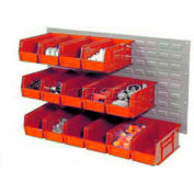 Wall Bin Rack Panel 36 x19 With 32 Red 4-1/8x7-1/2x3 Akro Stacking Bins