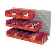 Wall Bin Rack Panel 36 x19 With 8 Red 8-1/4x11x7 Akro Stacking Bins