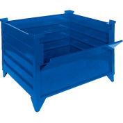 """Global Industrial™ Stackable Steel Container W/Drop Gate, 48""""Lx48""""Wx24""""H, Blue"""