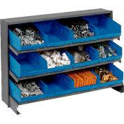 3 Shelf Bench Pick Rack With 12 Blue Shelf Bins 8 Inch Wide 33x12x21