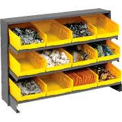 3 Shelf Bench Pick Rack With 12 Yellow Plastic Shelf Bins 8 Inch Wide 33x12x21