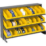 3 Shelf Bench Pick Rack With 24 Yellow Plastic Shelf Bins 4 Inch Wide 33x12x21