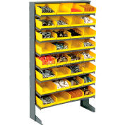 8 Shelf Floor Pick Rack With 32 Yellow Plastic Shelf Bins 8 Inch Wide 33x12x61