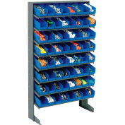 8 Shelf Floor Pick Rack With 64 Blue Plastic Shelf Bins 4 Inch Wide 33x12x61