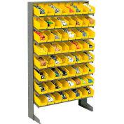 8 Shelf Floor Pick Rack With 64 Yellow Plastic Shelf Bins 4 Inch Wide 33x12x61