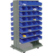 16 Shelf Double-Sided Mobile Pick Rack With 64 Blue Plastic Shelf Bins 8 Inch Wide