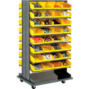 16 Shelf Double-Sided Mobile Rack With 64 Bins 8 Inch Wide
