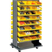 16 Shelf Double-Sided Mobile Pick Rack With 64 Yellow Plastic Shelf Bins 8 Inch Wide