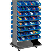 16 Shelf Double-Sided Mobile Rack With 128 Bins 4 Inch Wide