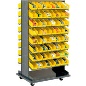 16 Shelf Double-Sided Mobile Pick Rack With 128 Yellow Plastic Shelf Bins 4 Inch Wide
