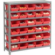 "Steel Shelving with 30 4""H Plastic Shelf Bins Red, 36x12x39-7 Shelves"