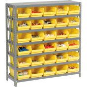 "Steel Shelving with 30 4""H Plastic Shelf Bins Yellow, 36x12x39-7 Shelves"