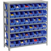 "Steel Shelving with 48 4""H Plastic Shelf Bins Blue, 36x12x39-7 Shelves"