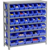 "Steel Shelving with Total 72 4""H Plastic Shelf Bins Blue, 36x12x39-7 Shelves"