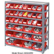 "Steel Shelving with Total 72 4""H Plastic Shelf Bins Red, 36x12x39-7 Shelves"