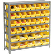 "Steel Shelving with Total 72 4""H Plastic Shelf Bins Yellow, 36x12x39-7 Shelves"